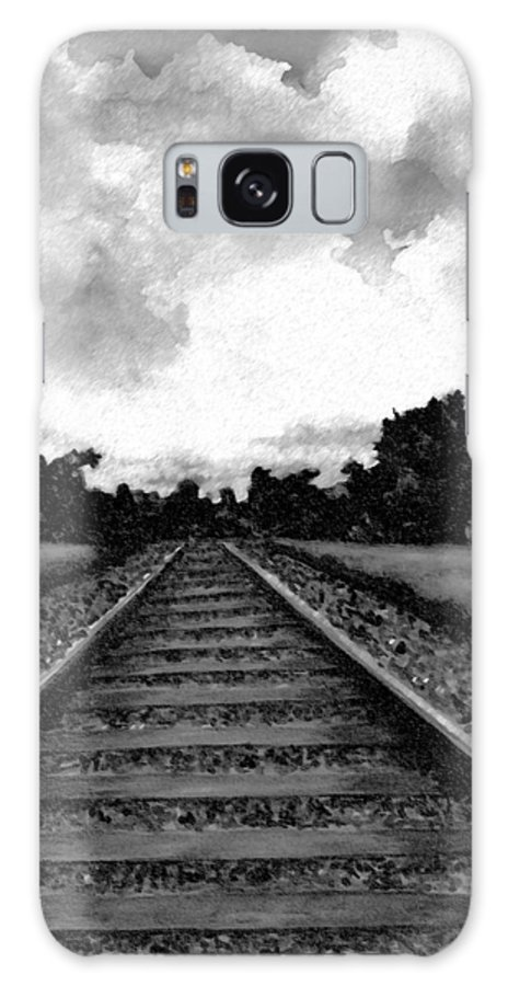 Railroad Galaxy S8 Case featuring the drawing Railroad Tracks - Charcoal by Michael Vigliotti