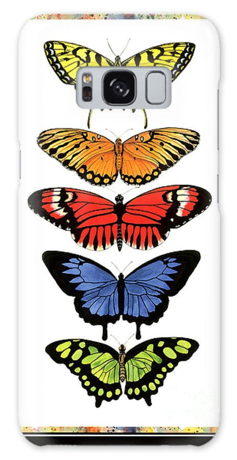 Butterflies Galaxy S8 Case featuring the painting Rainbow Butterflies by Lucy Arnold