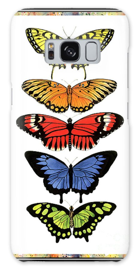 Butterflies Galaxy Case featuring the painting Rainbow Butterflies by Lucy Arnold