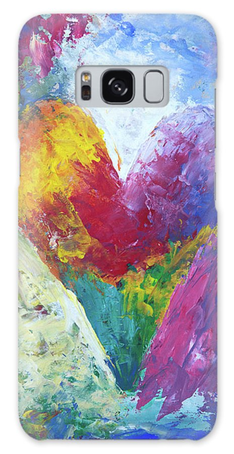 Painting Galaxy S8 Case featuring the painting Rainbow Heart In The Cloud Acrylic Paintings by Karen Kaspar