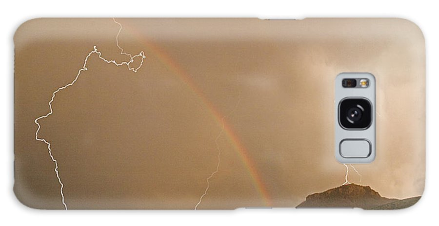 Lightning Galaxy S8 Case featuring the photograph Rainbow Lightning And Table Mountain-signed by J L Woody Wooden