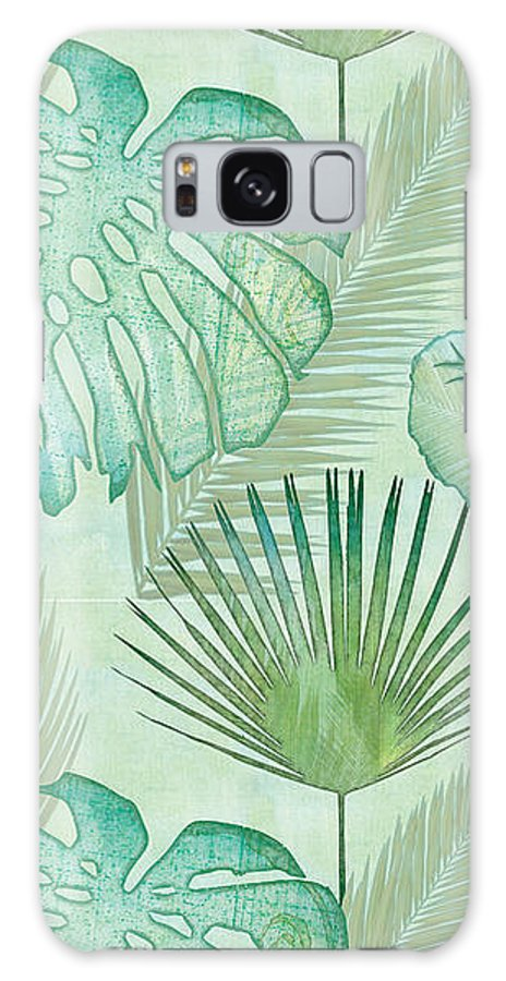 Rain Galaxy Case featuring the painting Rainforest Tropical - Elephant Ear and Fan Palm Leaves Repeat Pattern by Audrey Jeanne Roberts