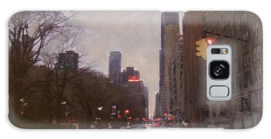 Rain Galaxy S8 Case featuring the painting Rainy City Street by Anita Burgermeister