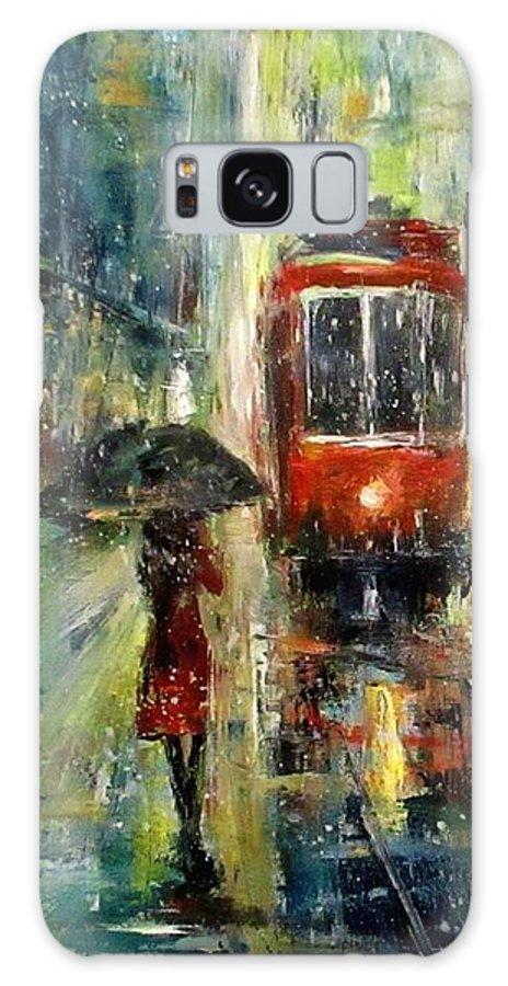Landscape Galaxy Case featuring the painting Rainy Fantasy by Natalja Picugina