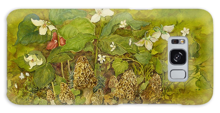 Mushrooms;trillium;spring;violets;woods;woodland;morels;watercolor Painting; Galaxy S8 Case featuring the painting Ready For Pickin' by Lois Mountz