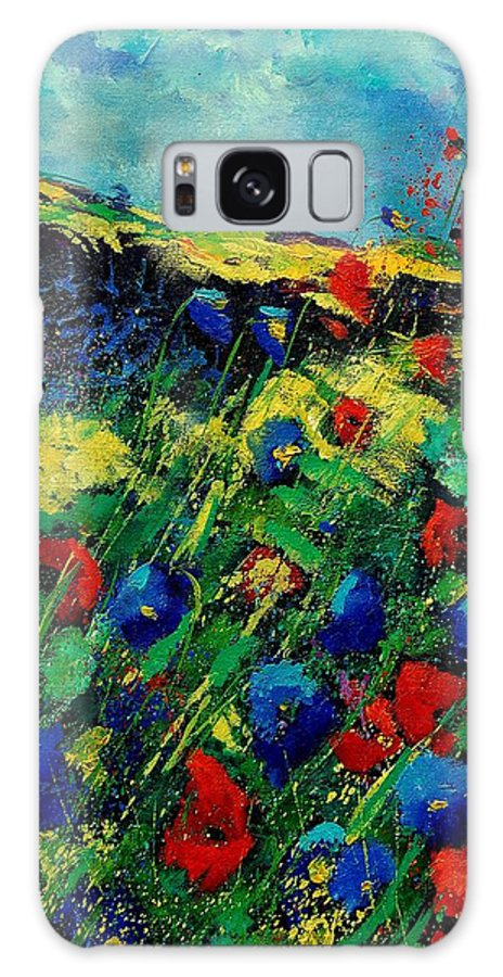 Flowers Galaxy S8 Case featuring the painting Red And Blue Poppies 56 by Pol Ledent