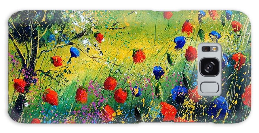 Flowers Galaxy Case featuring the painting Red And Blue Poppies by Pol Ledent