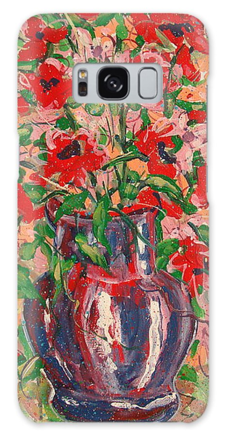 Flowers Galaxy Case featuring the painting Red And Pink Poppies. by Leonard Holland
