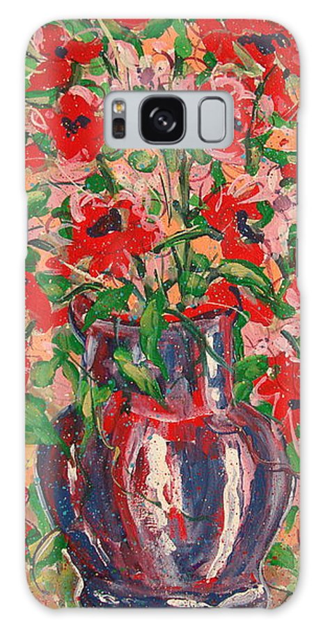 Flowers Galaxy S8 Case featuring the painting Red And Pink Poppies. by Leonard Holland