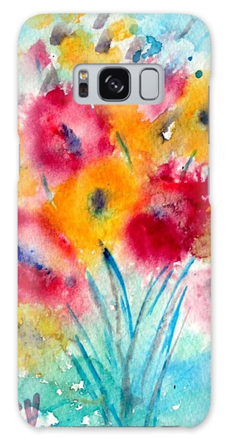 Flowers Galaxy S8 Case featuring the painting Red And Yellow Flowers by Luiza Vizoli