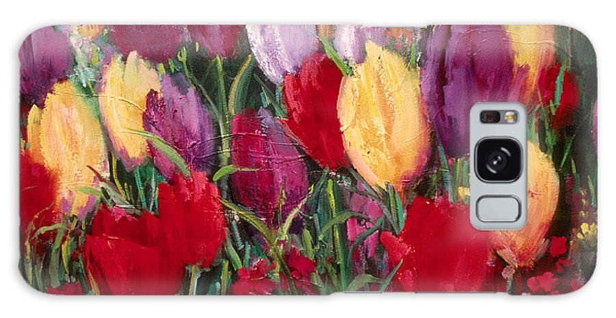 Flowers Galaxy Case featuring the painting Red And Yellow Tulips by Sally Seago
