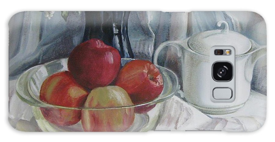 Still Life Galaxy Case featuring the painting Red Apples by Elena Oleniuc
