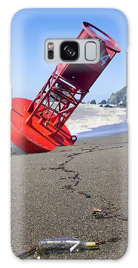 Bell Galaxy S8 Case featuring the photograph Red Bell Buoy On Beach With Bottle by Garry Gay