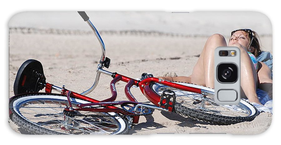 Red Galaxy Case featuring the photograph Red Bike On The Beach by Rob Hans