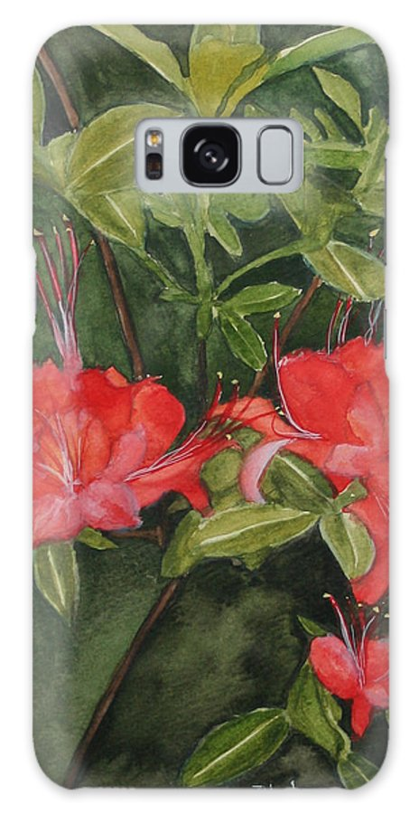 Flowers Galaxy Case featuring the painting Red Blooms On The Parkway by Jean Blackmer