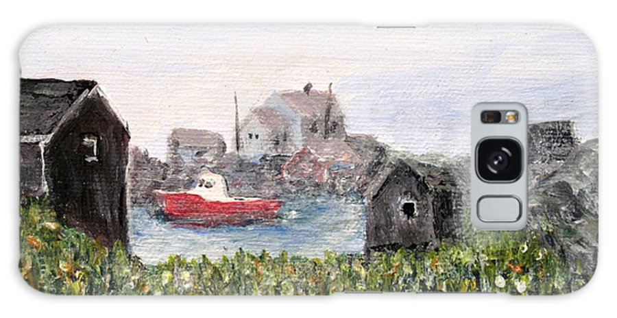 Red Boat Galaxy Case featuring the painting Red Boat In Peggys Cove Nova Scotia by Ian MacDonald