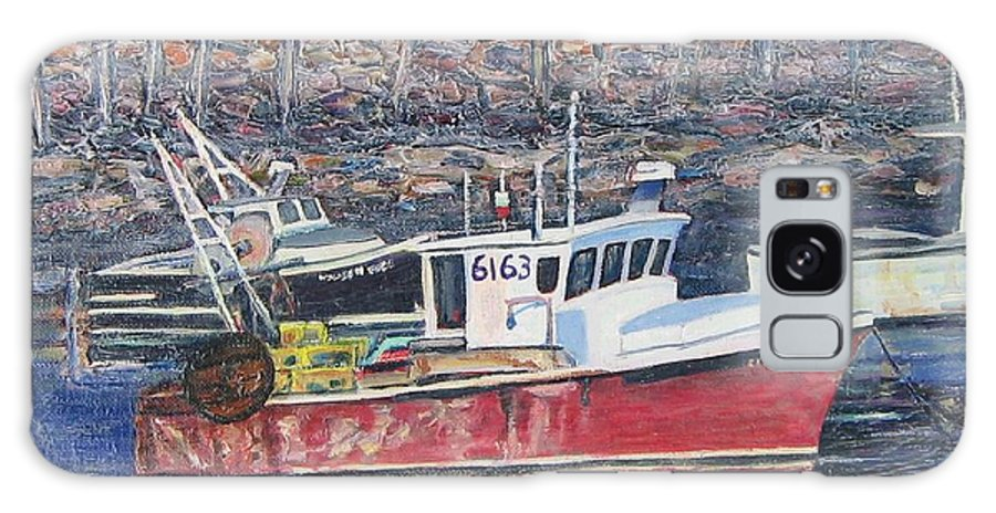 Boat Galaxy Case featuring the painting Red Boat Reflections by Richard Nowak
