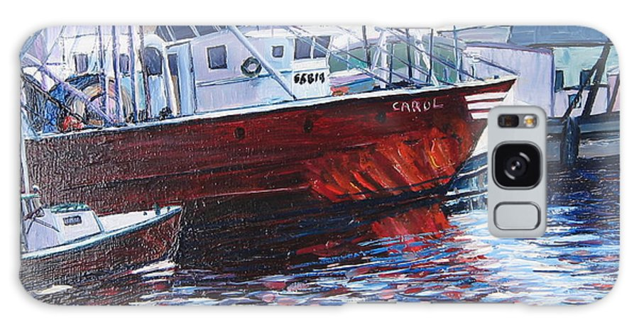 Boats Galaxy S8 Case featuring the painting Red Boats by Richard Nowak
