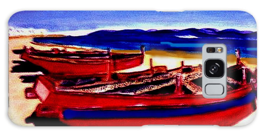 Boats Galaxy S8 Case featuring the painting Red Boats by Rusty Gladdish