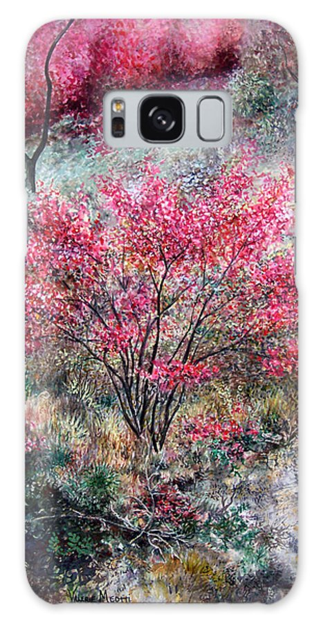 Landscape Galaxy Case featuring the painting Red Bush by Valerie Meotti