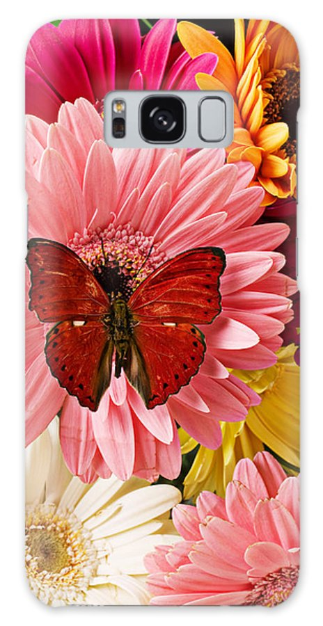 Butterfly Daisy Wings Flower Flowers Petal Petals Floral Galaxy S8 Case featuring the photograph Red Butterfly On Bunch Of Flowers by Garry Gay