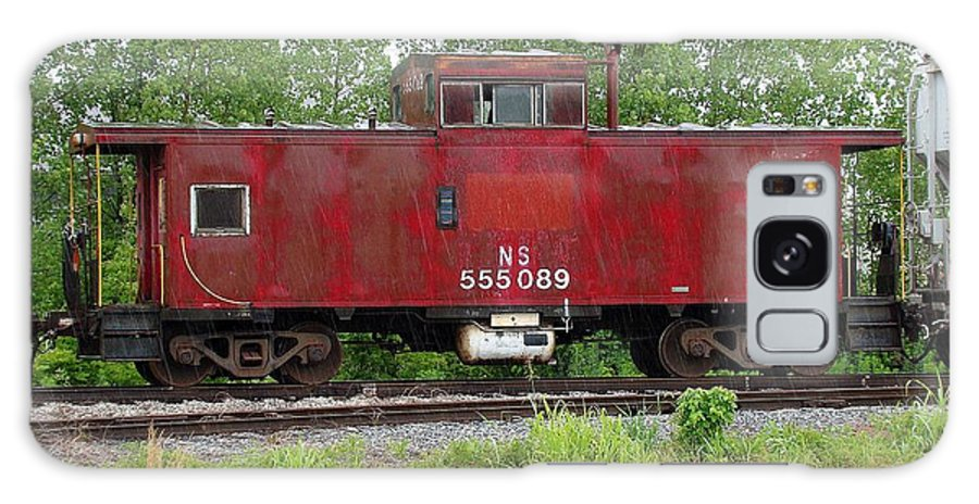 Train Galaxy S8 Case featuring the photograph Red Caboose In The Rain by J R Seymour