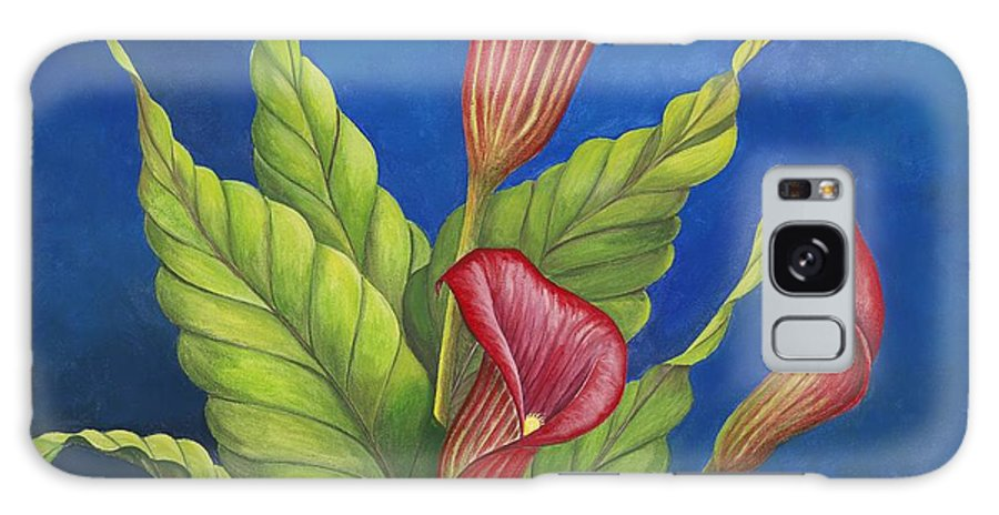 Red Calla Lillies On Blue Background Galaxy Case featuring the painting Red Calla Lillies by Carol Sabo
