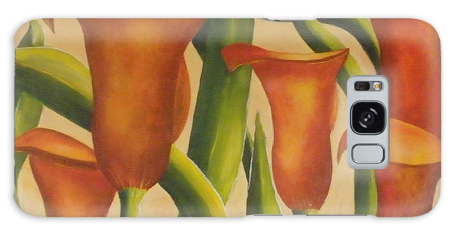 Calla Galaxy S8 Case featuring the painting Red Callas by Jeanie Watson
