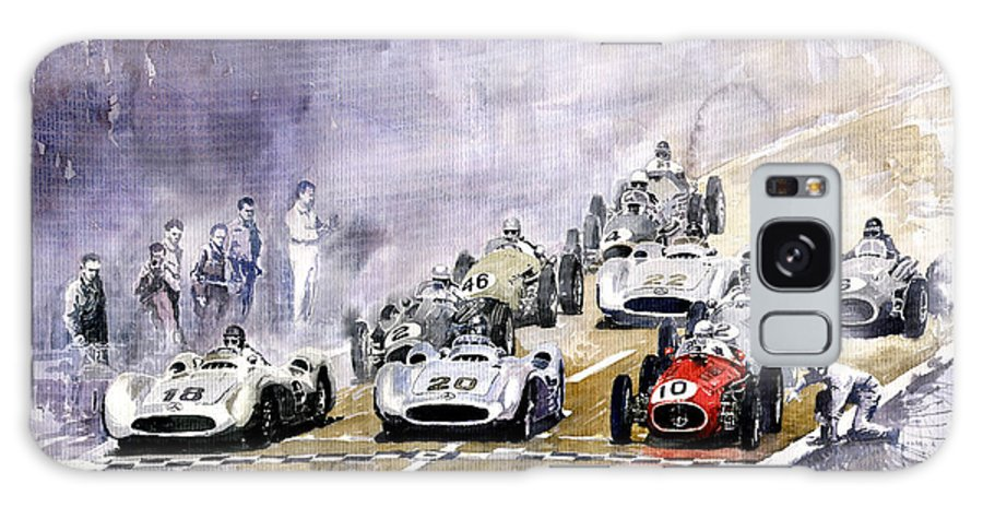 Watercolour Galaxy S8 Case featuring the painting 1954 Red Car Maserati 250 France Gp by Yuriy Shevchuk