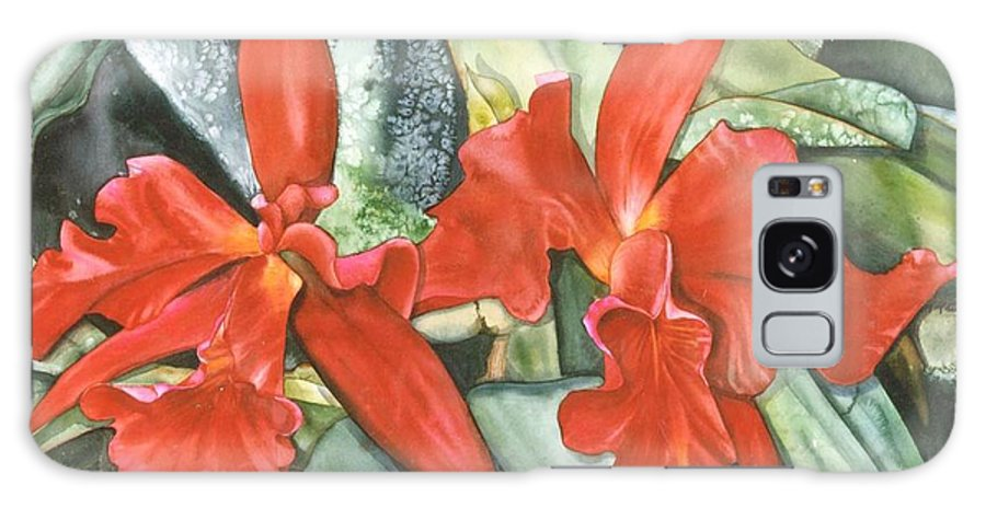 Tropical Galaxy Case featuring the painting Red Cats by Sandra Shelton
