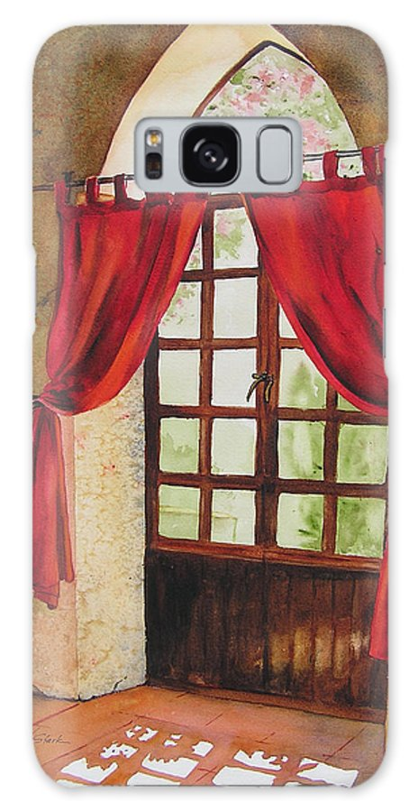 Curtain Galaxy Case featuring the painting Red Curtain by Karen Stark
