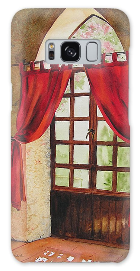 Curtain Galaxy S8 Case featuring the painting Red Curtain by Karen Stark
