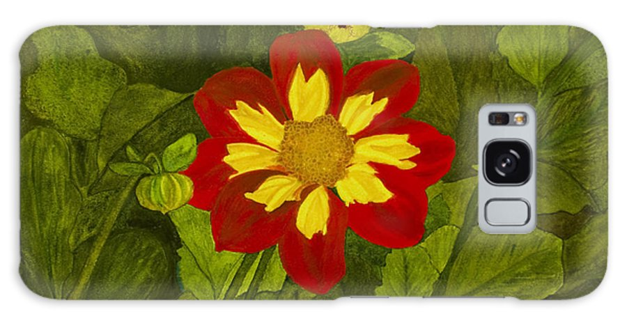 Red Galaxy Case featuring the painting Red Dahlia by Louise Magno