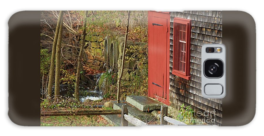 New England Vision Kingsbury Grist Mill Red Door Outdoors Fall Rural Medfield Window Stone Steps Historic Building Shingles Greenery Water Falling Serene Old Fence Canvas Print Wood Print Meta Frame Poster Print Available On Shower Curtains Tote Bags T Shirts Mugs Pouches Throw Pillows And Phone Cases Galaxy S8 Case featuring the photograph Red Door At The Grist Mill In Fall 2017 by Marcus Dagan