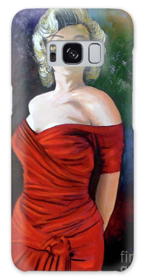 M.monroe Galaxy Case featuring the painting Red Dress by Jose Manuel Abraham