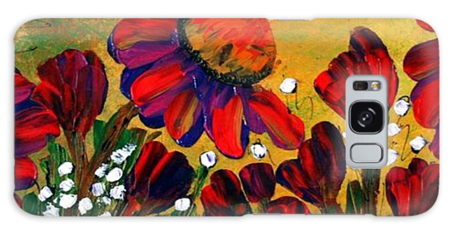Flowers Galaxy S8 Case featuring the painting Red Garden by Luiza Vizoli