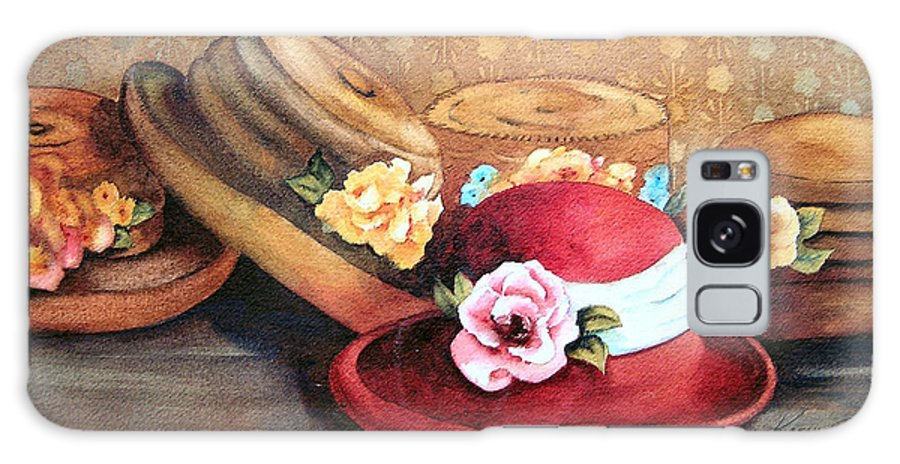 Hat Galaxy Case featuring the painting Red Hat by Karen Stark