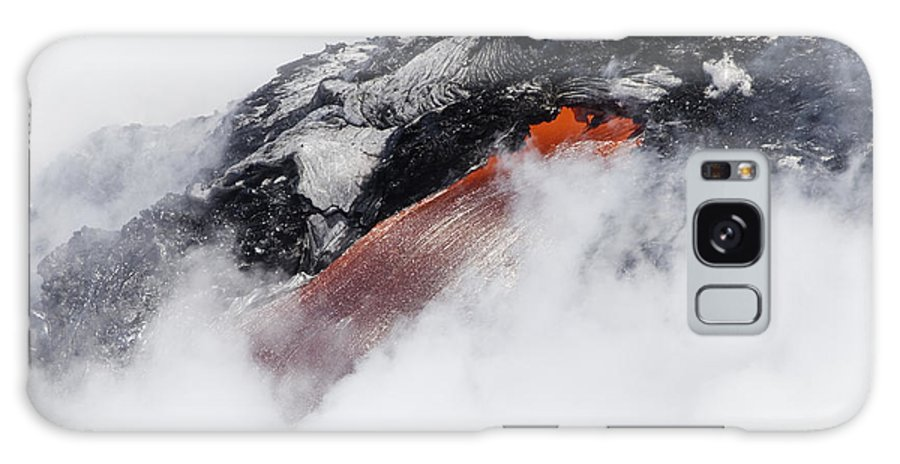 A'a Galaxy S8 Case featuring the photograph Red Hot Lava And Steam by Dave Fleetham - Printscapes