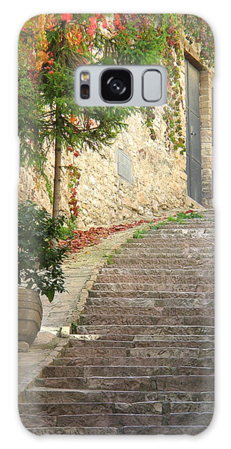 Assisi Galaxy S8 Case featuring the photograph Red Ivy And Steps In Assisi Italy by Greg Matchick