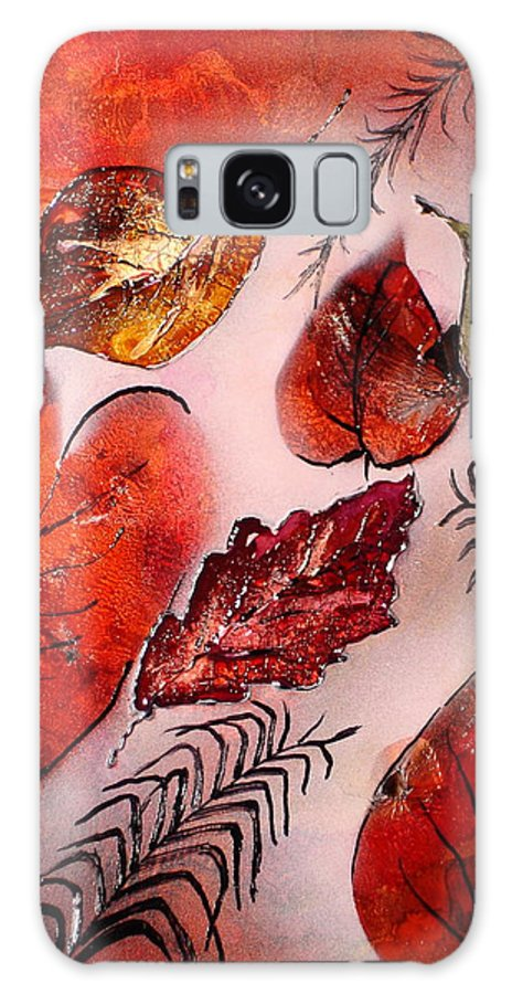 Leaf Galaxy S8 Case featuring the painting Red Leaves by Susan Kubes