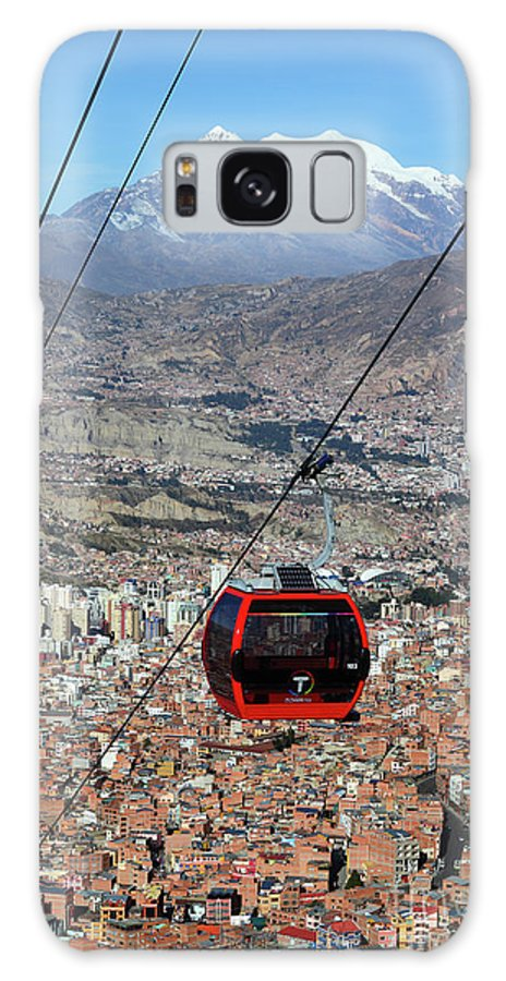 Bolivia Galaxy S8 Case featuring the photograph Red Line Cable Car Cabin And Mt Illimani Bolivia by James Brunker