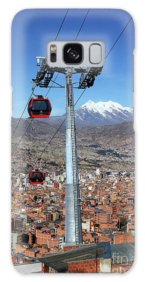 La Paz Galaxy S8 Case featuring the photograph Red Line Cable Cars And Mt Illimani La Paz Bolivia by James Brunker