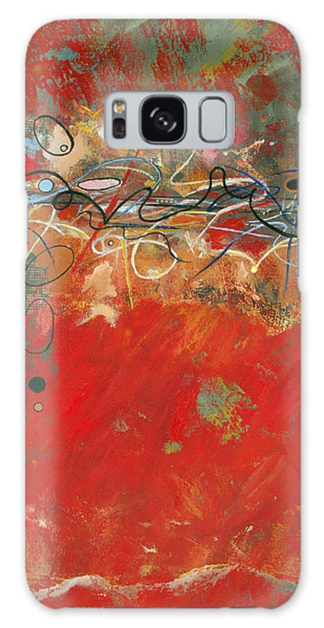 ruth Palmer Abstract Gestural Color Red Painting Acrylic Black Orange Blue Yellow Green Decorative Galaxy S8 Case featuring the painting Red Meander by Ruth Palmer