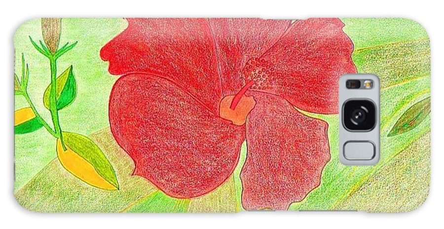 Red Flower Galaxy Case featuring the drawing Red Passion by Michael Puya