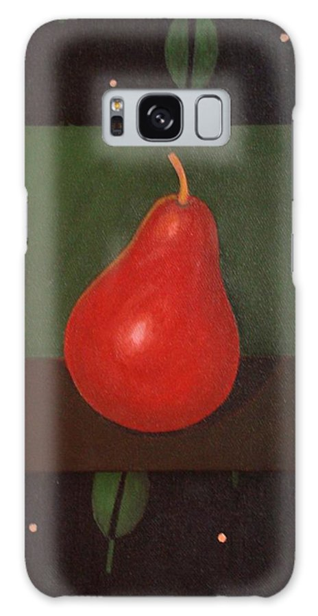 Pear Galaxy S8 Case featuring the painting Red Pear by Helena Tiainen
