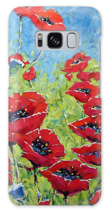 Canadian Floral Scene Created By Richard T Pranke Galaxy S8 Case featuring the painting Red Poppies By Prankearts by Richard T Pranke