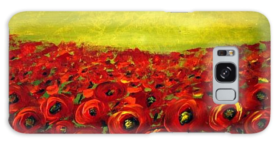 Flowers Galaxy S8 Case featuring the painting Red Poppies Field by Luiza Vizoli
