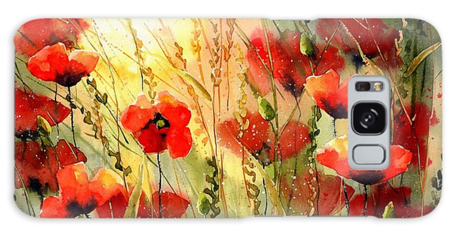 Red Galaxy Case featuring the painting Red Poppies watercolor by Suzann Sines