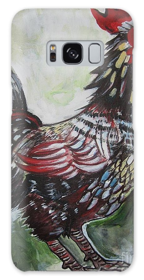 Red Rooster Paintings Galaxy S8 Case featuring the painting Red Rooster by Seon-Jeong Kim