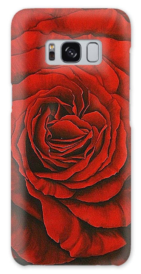Red Galaxy S8 Case featuring the painting Red Rose II by Rowena Finn
